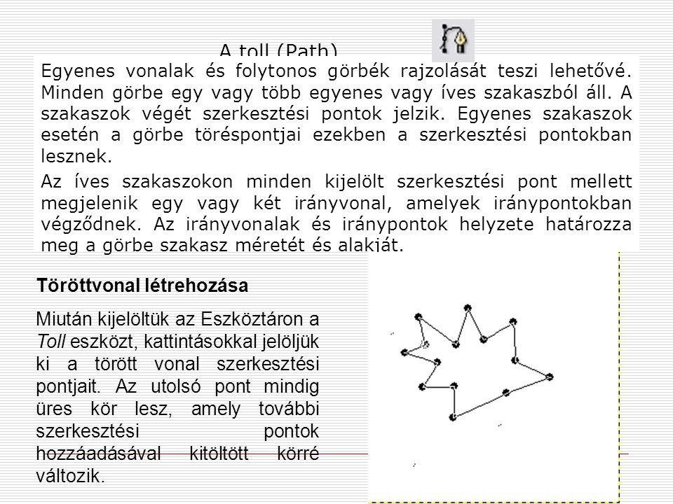 A toll (Path) Egyenes vonalak és folytonos görbék rajzolását teszi lehetővé. Minden görbe egy vagy több egyenes vagy íves szakaszból áll. A szakaszok