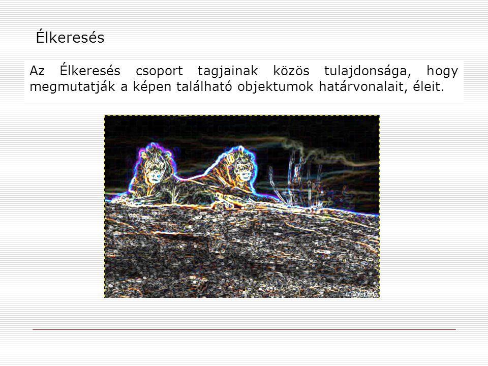 Élkeresés Az Élkeresés csoport tagjainak közös tulajdonsága, hogy megmutatják a képen található objektumok határvonalait, éleit.
