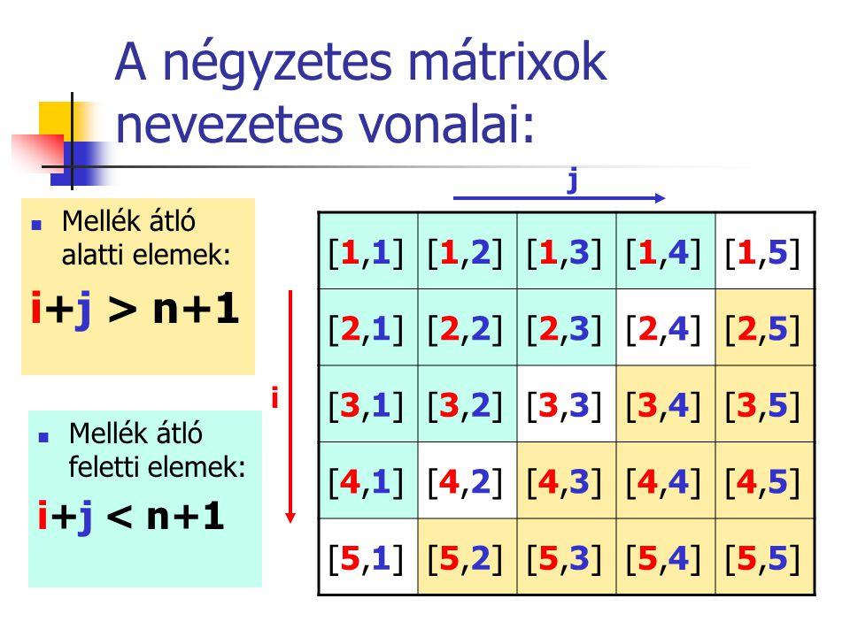 A négyzetes mátrixok nevezetes vonalai: Mellék átló alatti elemek: i+j > n+1 [1,1][1,1][1,2][1,2][1,3][1,3][1,4][1,4][1,5][1,5] [2,1][2,1][2,2][2,2][2