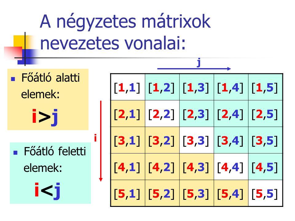 A négyzetes mátrixok nevezetes vonalai: Főátló alatti elemek: i>j [1,1][1,1][1,2][1,2][1,3][1,3][1,4][1,4][1,5][1,5] [2,1][2,1][2,2][2,2][2,3][2,3][2,