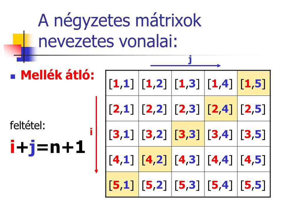 A négyzetes mátrixok nevezetes vonalai: Mellék átló: feltétel: i+j=n+1 [1,1][1,1][1,2][1,2][1,3][1,3][1,4][1,4][1,5][1,5] [2,1][2,1][2,2][2,2][2,3][2,