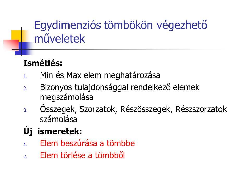 1.Min és Max elem meghatározása 1.