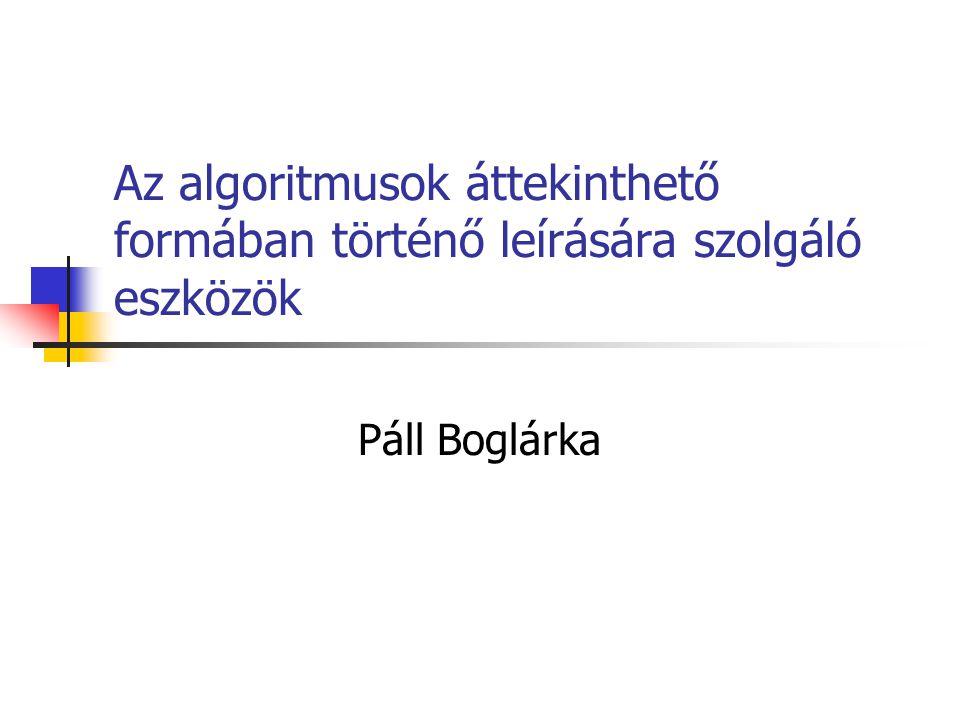 Az algoritmusok áttekinthető formában történő leírására szolgáló eszközök Páll Boglárka
