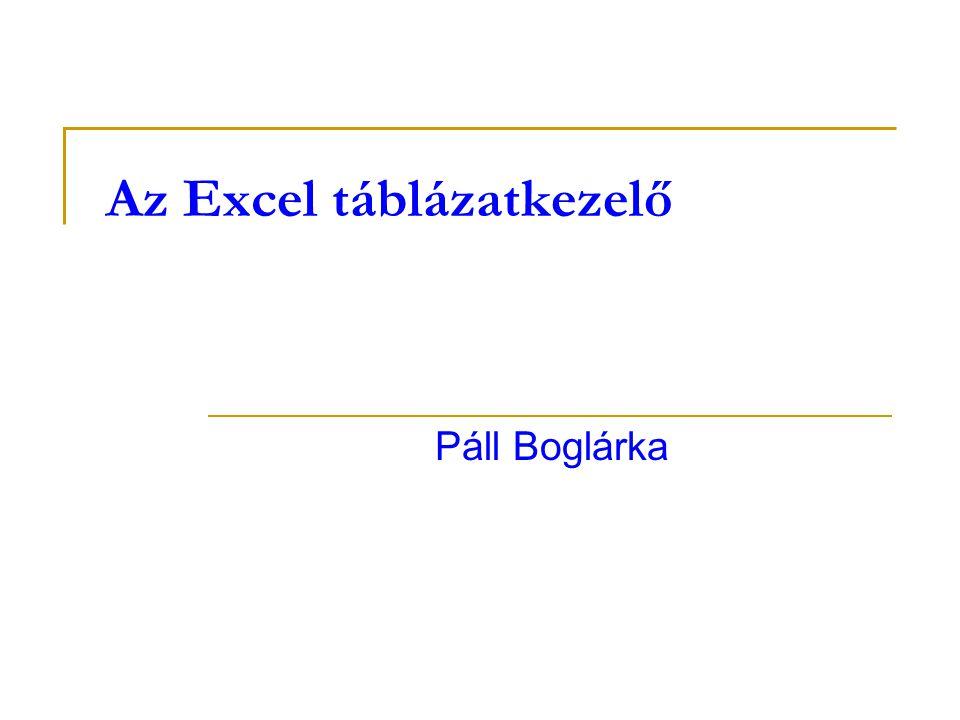 Az Excel táblázatkezelő Páll Boglárka