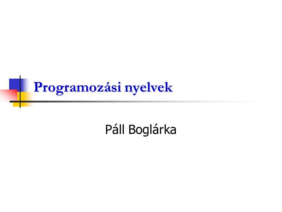Programozási nyelvek Az algoritmus gép által ismert nyelvre való átírása a programozási nyelvvekkel történik.