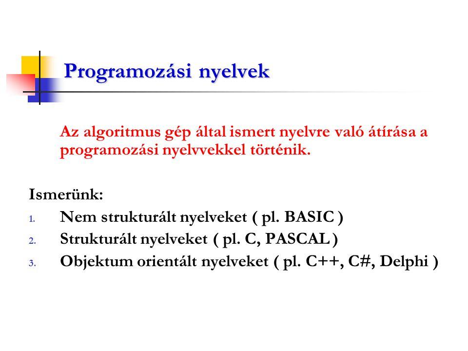 Programozási nyelvek Az algoritmus gép által ismert nyelvre való átírása a programozási nyelvvekkel történik. Ismerünk: 1. Nem strukturált nyelveket (