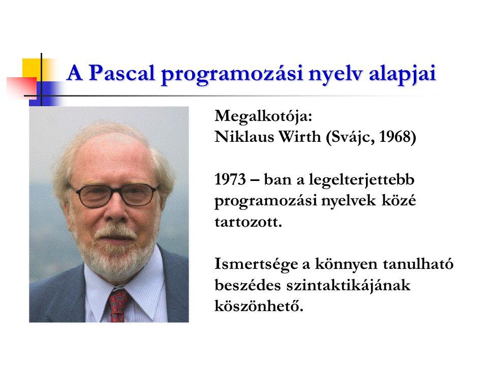 A Pascal programozási nyelv alapjai Megalkotója: Niklaus Wirth (Svájc, 1968) 1973 – ban a legelterjettebb programozási nyelvek közé tartozott. Ismerts