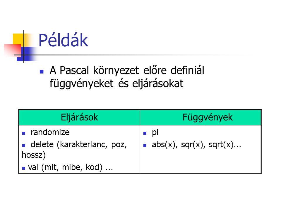 Példák A Pascal környezet előre definiál függvényeket és eljárásokat EljárásokFüggvények randomize delete (karakterlanc, poz, hossz) val (mit, mibe, kod)...