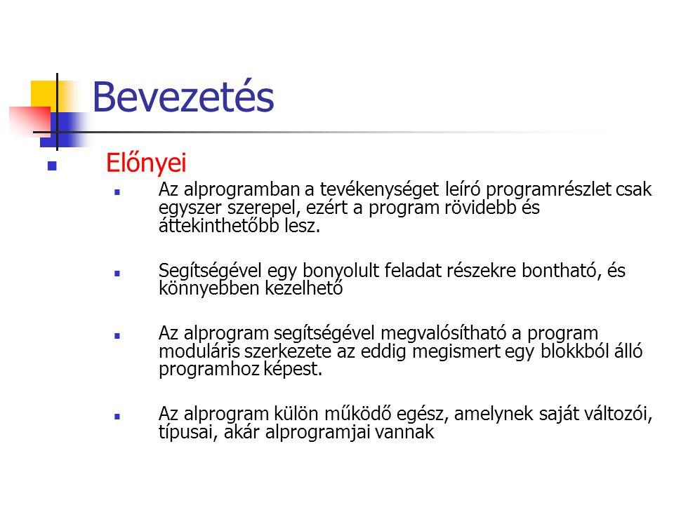 Bevezetés Előnyei Az alprogramban a tevékenységet leíró programrészlet csak egyszer szerepel, ezért a program rövidebb és áttekinthetőbb lesz.