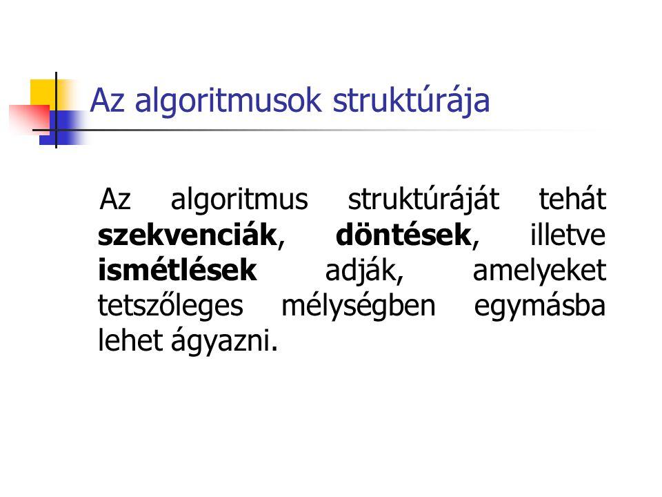 Az algoritmusok struktúrája Az algoritmus struktúráját tehát szekvenciák, döntések, illetve ismétlések adják, amelyeket tetszőleges mélységben egymásb