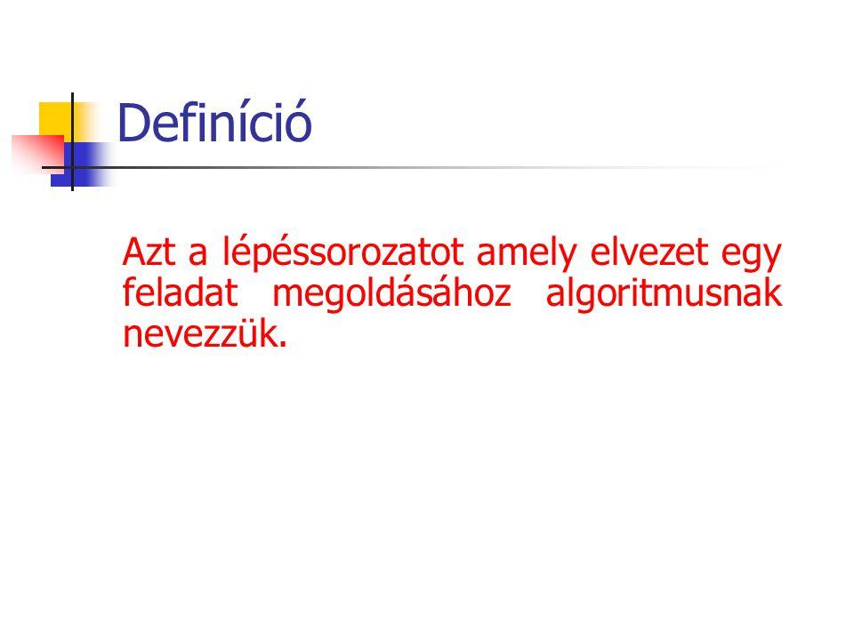 Definíció Azt a lépéssorozatot amely elvezet egy feladat megoldásához algoritmusnak nevezzük.