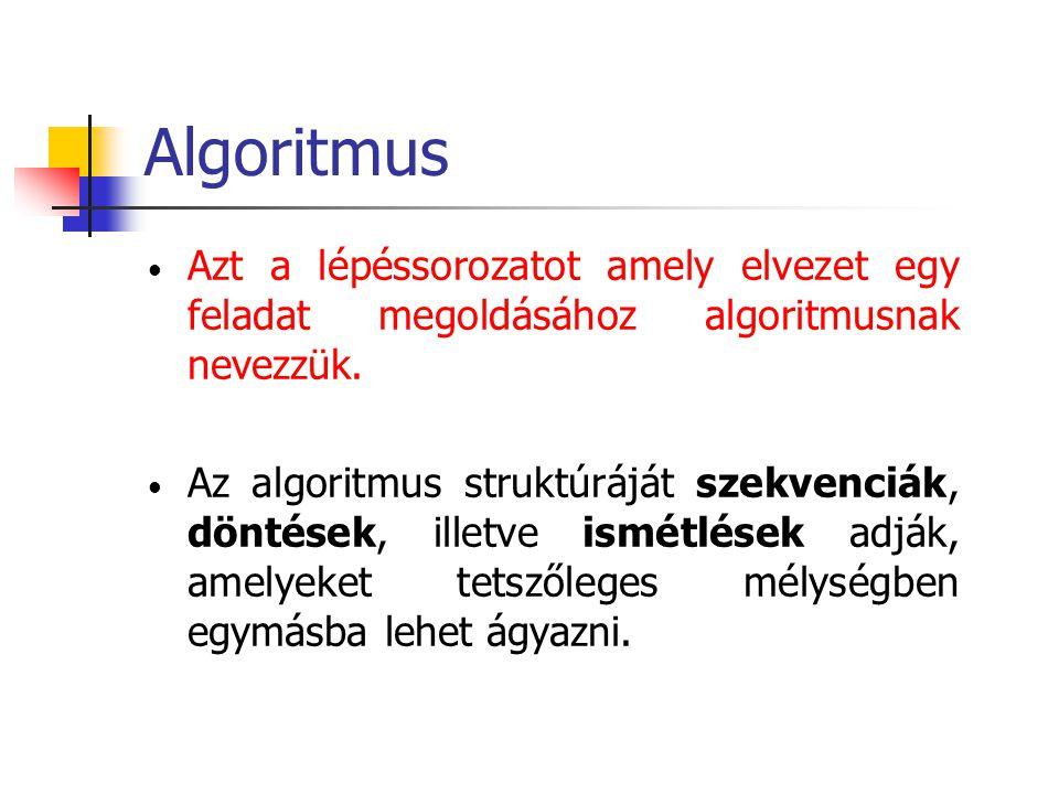 Kifejezések Az algoritmusokban bizonyos műveletek elvégzésére, valamint egyes feltételek vizsgálatára kifejezéseket használunk A kifejezések operátorokból (műveletekből) és operandusokból állnak Pl: összeg+2*i összeg+2*i Operandus (változó) Operátor Operandus (állandó) Operátor Operandus (változó)