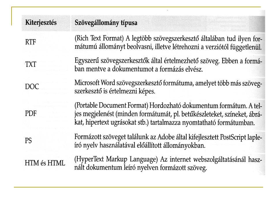 4.A dokumentum formázása A dokumentum külalakjának kialakítása szövegegységenként történik.