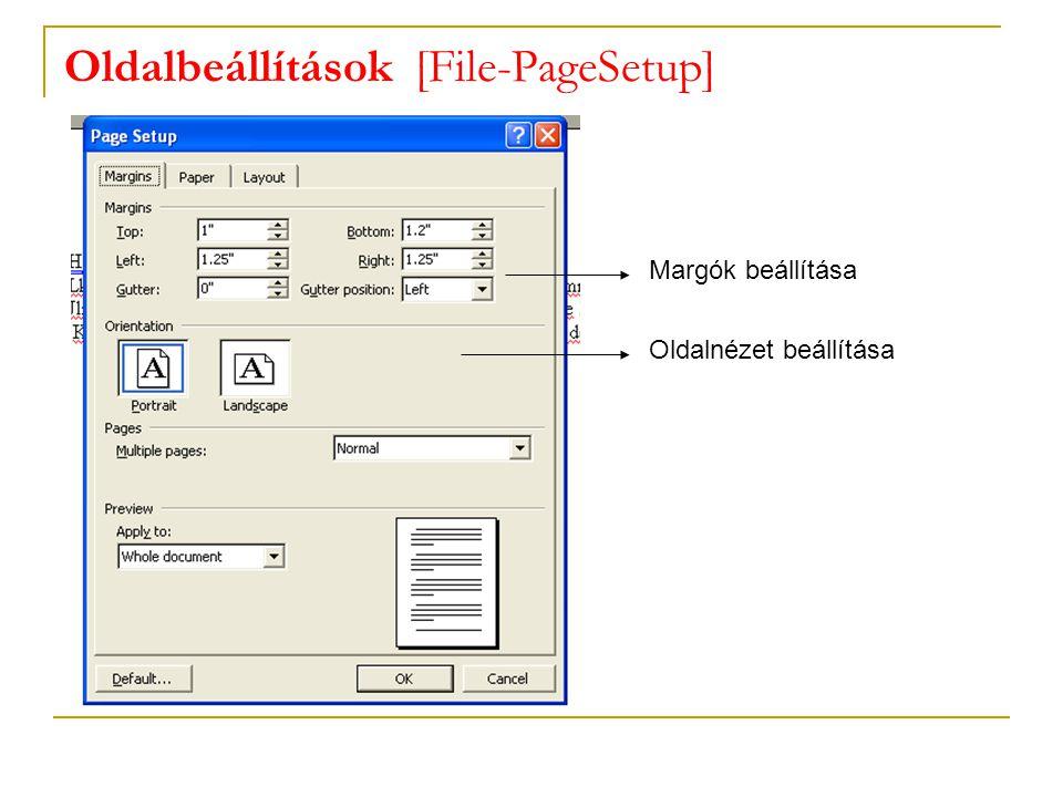 Oldalbeállítások [File-PageSetup] Margók beállítása Oldalnézet beállítása