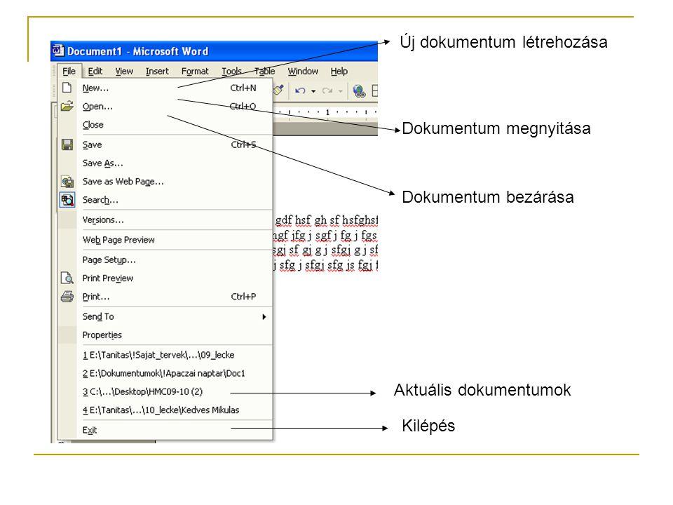 Új dokumentum létrehozása Dokumentum megnyitása Dokumentum bezárása Kilépés Aktuális dokumentumok