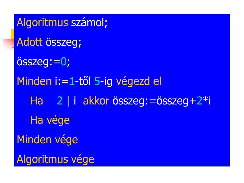 Algoritmus számol; Adott összeg; összeg:=0; Minden i:=1-től 5-ig végezd el Ha 2 | i akkor összeg:=összeg+2*i Ha vége Minden vége Algoritmus vége