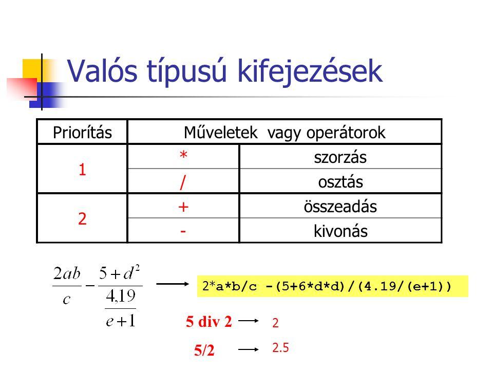 Összehasonlító operátorok Műveletek vagy operátorok =egyenlő <>nem egyenlő <kisebb >nagyobb <=kisebb vagy egyenlő >=nagyobb vagy egyenlő a=15 b=-2 a>bigaz a div 7 = 2.5hamis a mod 3<> 0igaz