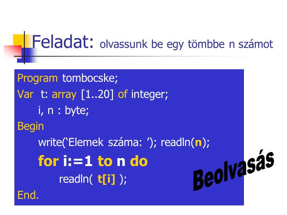 Feladat: olvassunk be egy tömbbe n számot Program tombocske; Var t: array [1..20] of integer; i, n : byte; Begin write('Elemek száma: '); readln(n); f