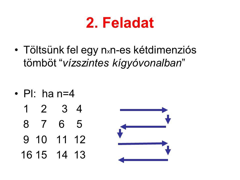"""2. Feladat Töltsünk fel egy n x n-es kétdimenziós tömböt """"vízszintes kígyóvonalban"""" Pl: ha n=4 1 2 3 4 8 7 6 5 9 10 11 12 16 15 14 13"""