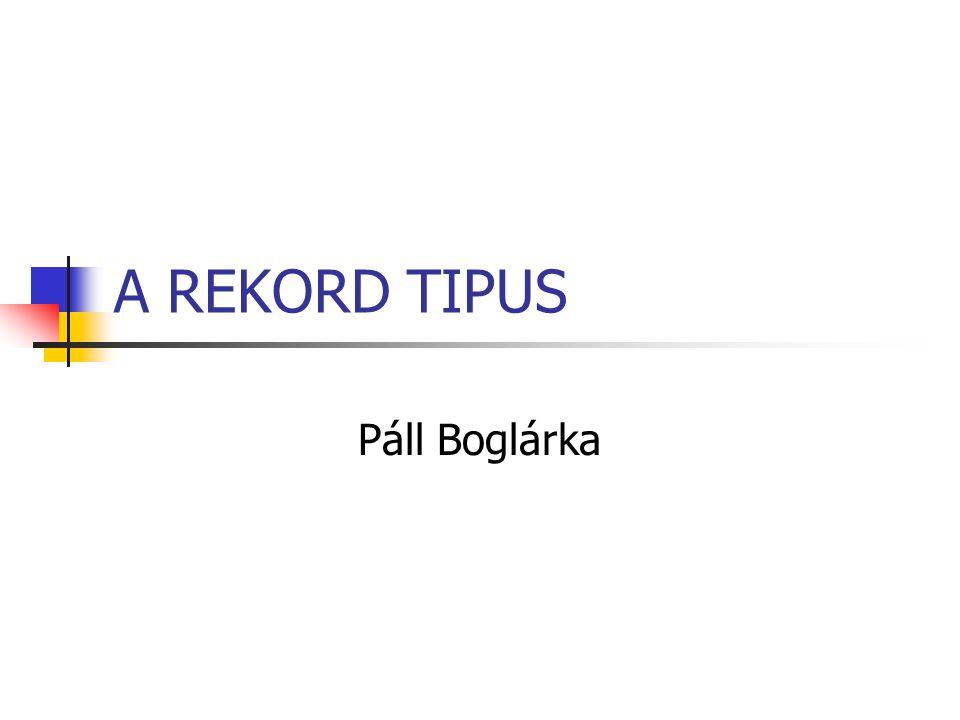 A REKORD TIPUS Páll Boglárka