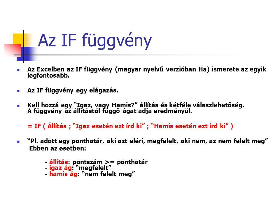 """Az IF függvény Az Excelben az IF függvény (magyar nyelvű verzióban Ha) ismerete az egyik legfontosabb. Az IF függvény egy elágazás. Kell hozzá egy """"Ig"""