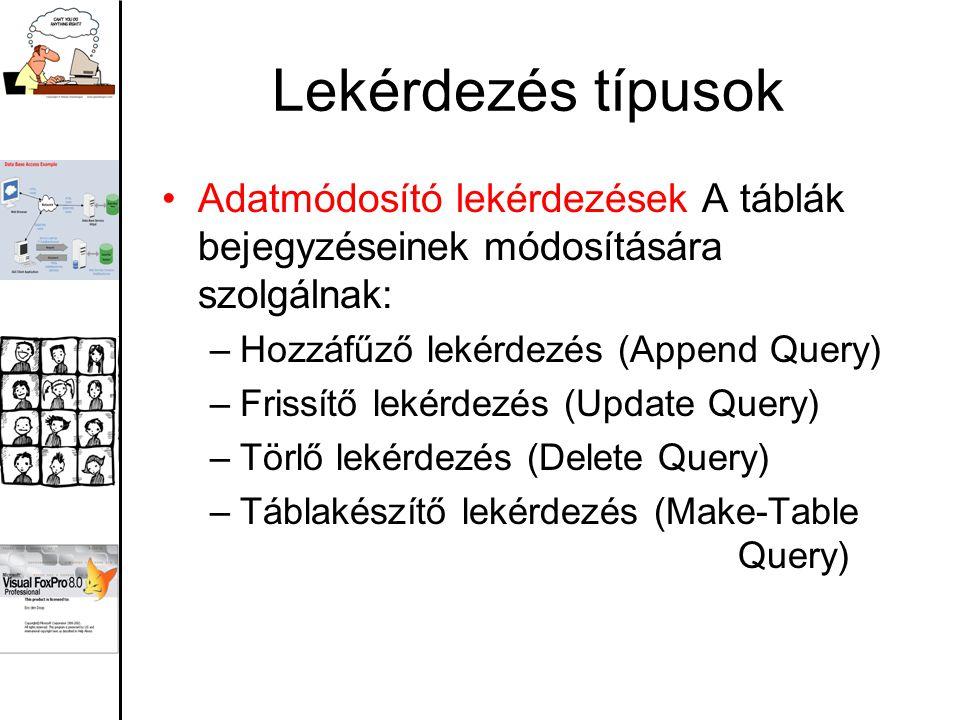 Lekérdezés típusok Adatmódosító lekérdezések A táblák bejegyzéseinek módosítására szolgálnak: –Hozzáfűző lekérdezés (Append Query) –Frissítő lekérdezés (Update Query) –Törlő lekérdezés (Delete Query) –Táblakészítő lekérdezés (Make-Table Query)