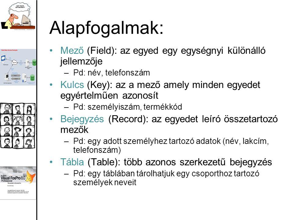 Alapfogalmak: Mező (Field): az egyed egy egységnyi különálló jellemzője –Pd: név, telefonszám Kulcs (Key): az a mező amely minden egyedet egyértelműen azonosít –Pd: személyiszám, termékkód Bejegyzés (Record): az egyedet leíró összetartozó mezők –Pd: egy adott személyhez tartozó adatok (név, lakcím, telefonszám) Tábla (Table): több azonos szerkezetű bejegyzés –Pd: egy táblában tárolhatjuk egy csoporthoz tartozó személyek neveit