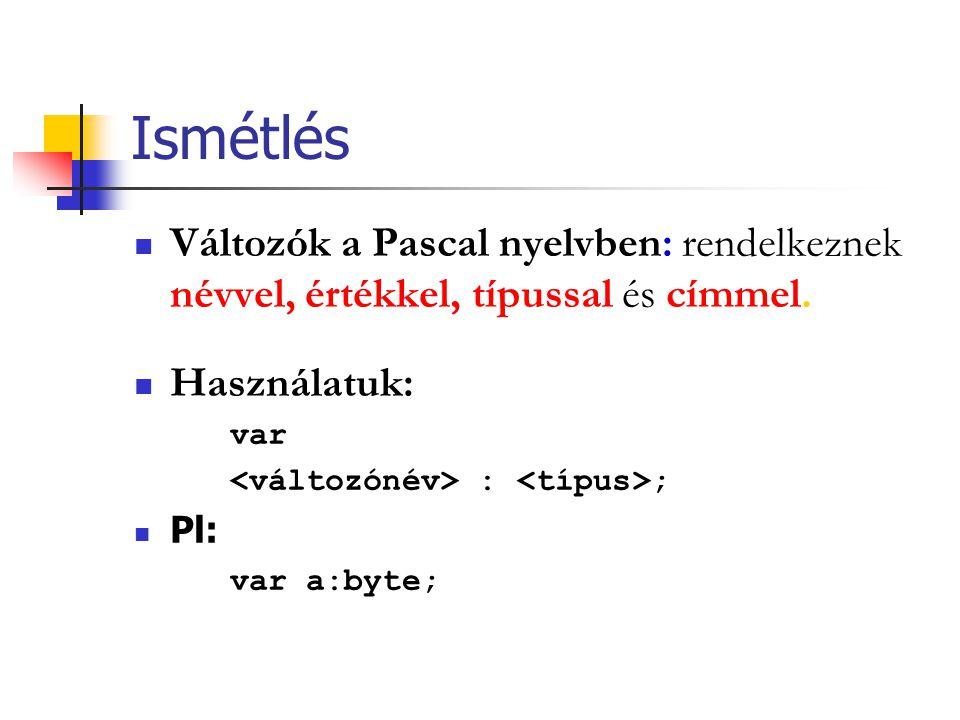 Ismétlés Változók a Pascal nyelvben: rendelkeznek névvel, értékkel, típussal és címmel. Használatuk: var : ; Pl: var a:byte;