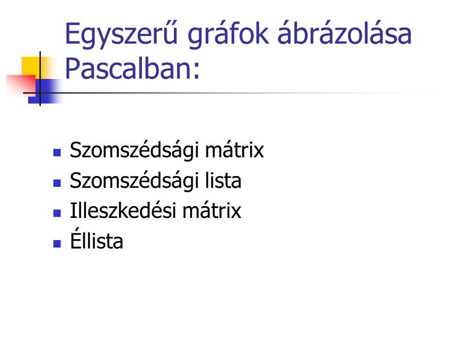 Egyszerű gráfok ábrázolása Pascalban: Szomszédsági mátrix Szomszédsági lista Illeszkedési mátrix Éllista