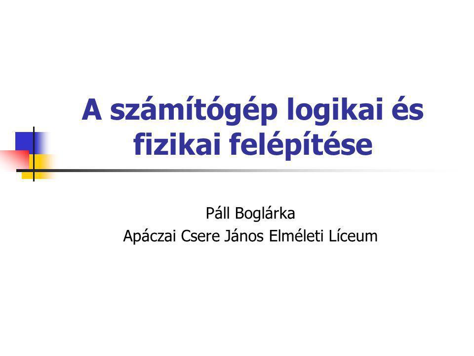 A számítógép logikai és fizikai felépítése Páll Boglárka Apáczai Csere János Elméleti Líceum