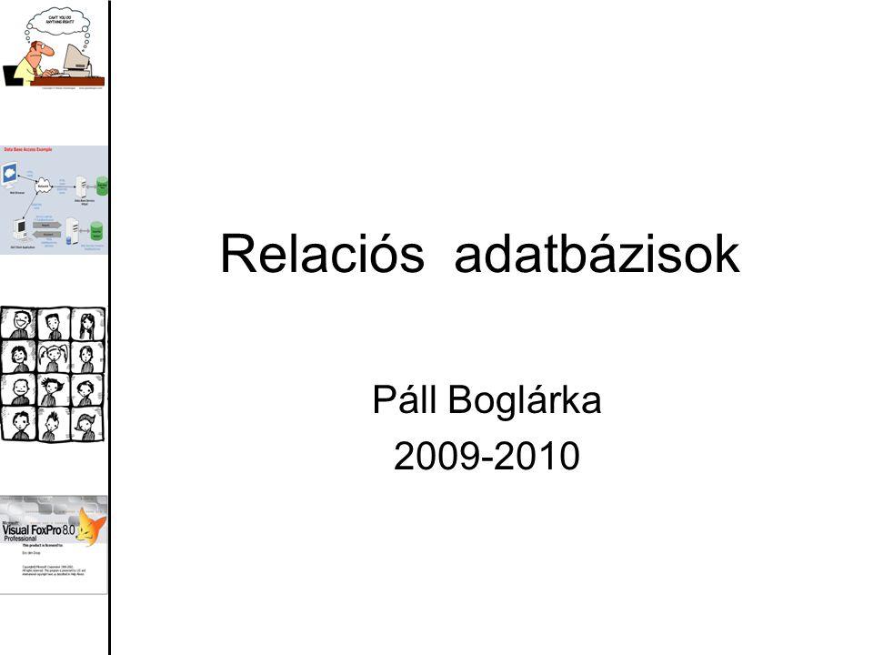 Relaciós adatbázisok Páll Boglárka 2009-2010