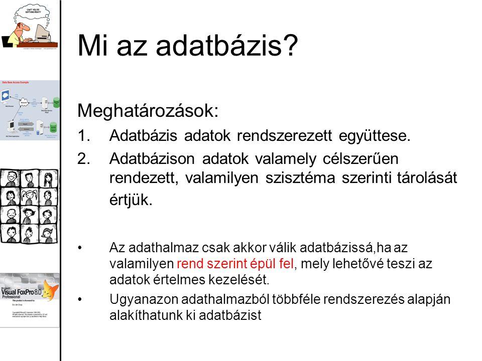 Mi az adatbázis? Meghatározások: 1.Adatbázis adatok rendszerezett együttese. 2.Adatbázison adatok valamely célszerűen rendezett, valamilyen szisztéma
