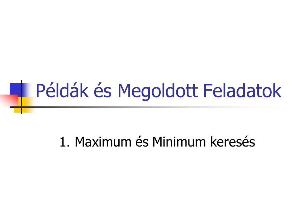 Példák és Megoldott Feladatok 1. Maximum és Minimum keresés