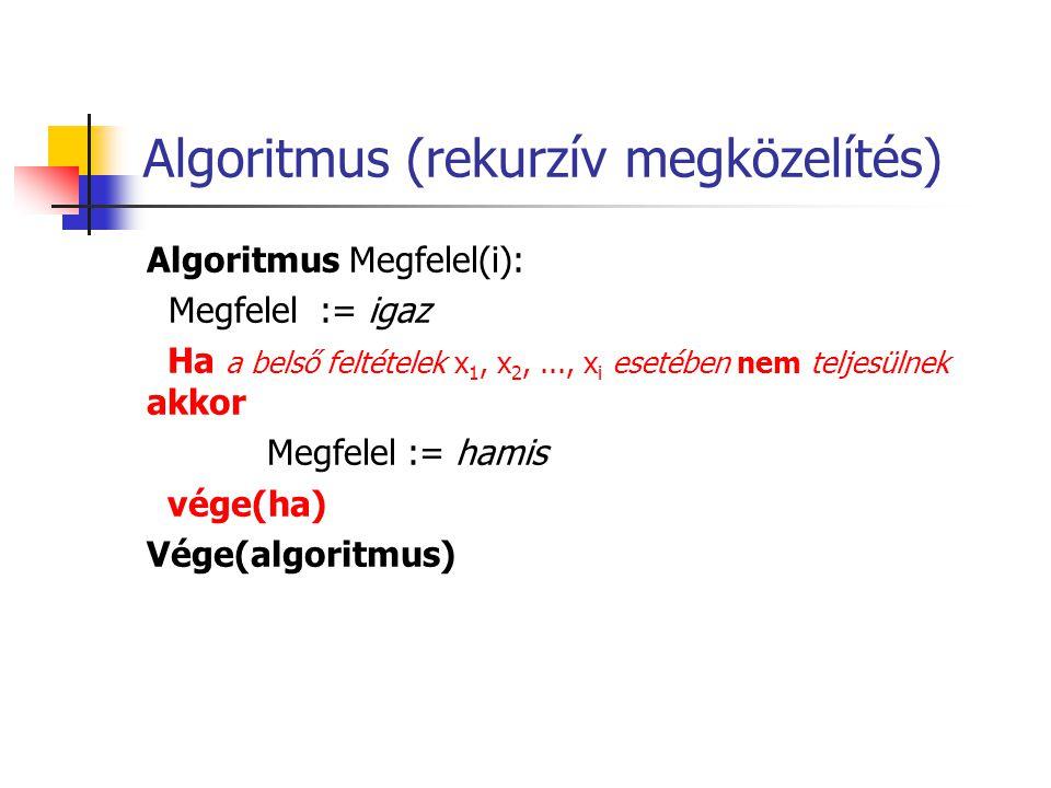 Algoritmus (rekurzív megközelítés) Algoritmus Megfelel(i): Megfelel := igaz Ha a belső feltételek x 1, x 2,..., x i esetében nem teljesülnek akkor Meg