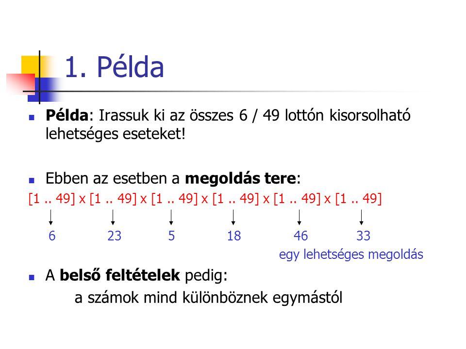 1. Példa Példa: Irassuk ki az összes 6 / 49 lottón kisorsolható lehetséges eseteket! Ebben az esetben a megoldás tere: [1.. 49] x [1.. 49] x [1.. 49]