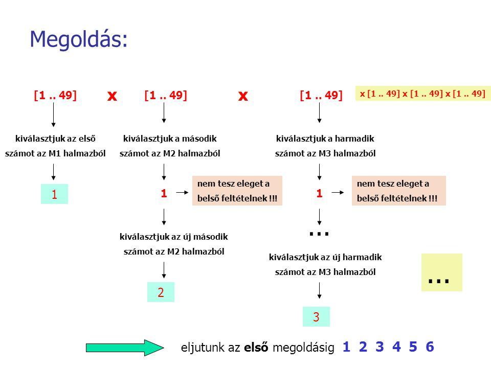 Megoldás: [1.. 49] kiválasztjuk az első számot az M1 halmazból 1 [1.. 49] kiválasztjuk a második számot az M2 halmazból 1 x nem tesz eleget a belső fe