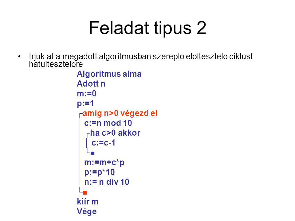 Feladat tipus 2 Irjuk at a megadott algoritmusban szereplo eloltesztelo ciklust hatultesztelore Algoritmus alma Adott n m:=0 p:=1 ┌amíg n>0 végezd el │ c:=n mod 10 │ ┌ha c>0 akkor │ │ c:=c-1 │ └■ │ m:=m+c*p │ p:=p*10 │ n:= n div 10 └■ kiír m Vége