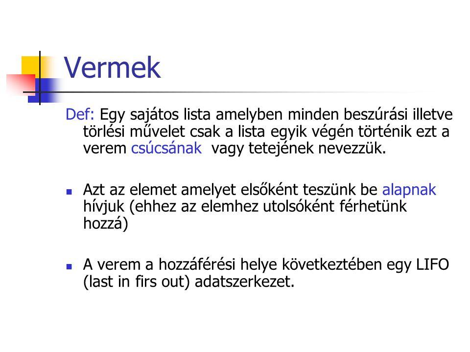 Vermek Def: Egy sajátos lista amelyben minden beszúrási illetve törlési művelet csak a lista egyik végén történik ezt a verem csúcsának vagy tetejének nevezzük.