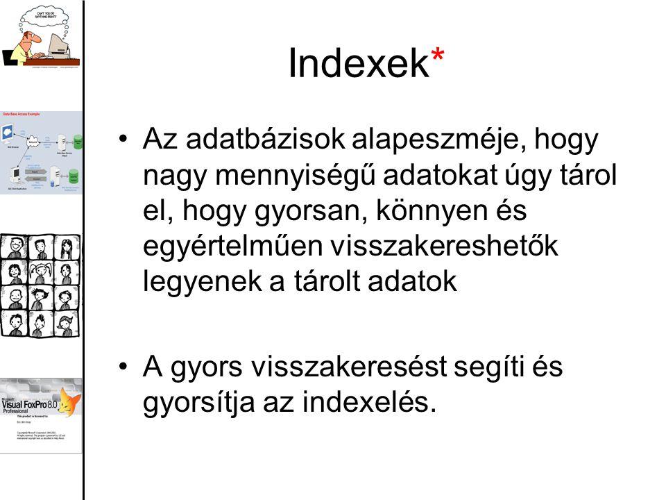 Indexek* Az adatbázisok alapeszméje, hogy nagy mennyiségű adatokat úgy tárol el, hogy gyorsan, könnyen és egyértelműen visszakereshetők legyenek a tár