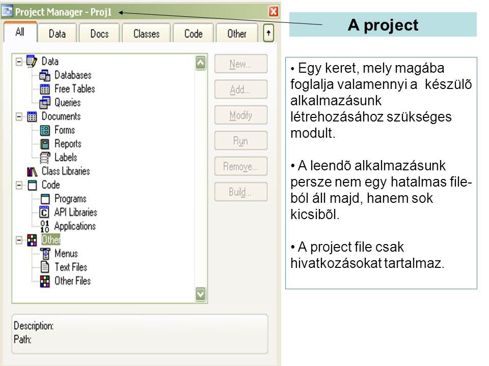 A project Egy keret, mely magába foglalja valamennyi a készülõ alkalmazásunk létrehozásához szükséges modult. A leendõ alkalmazásunk persze nem egy ha