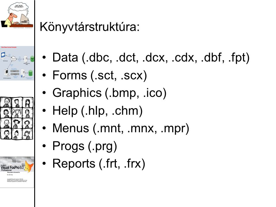 Könyvtárstruktúra: Data (.dbc,.dct,.dcx,.cdx,.dbf,.fpt) Forms (.sct,.scx) Graphics (.bmp,.ico) Help (.hlp,.chm) Menus (.mnt,.mnx,.mpr) Progs (.prg) Re