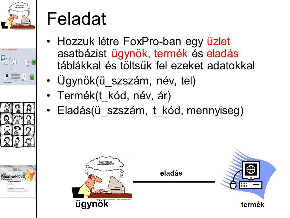 Feladat Hozzuk létre FoxPro-ban egy üzlet asatbázist ügynök, termék és eladás táblákkal és töltsük fel ezeket adatokkal Ügynök(ü_szszám, név, tel) Ter