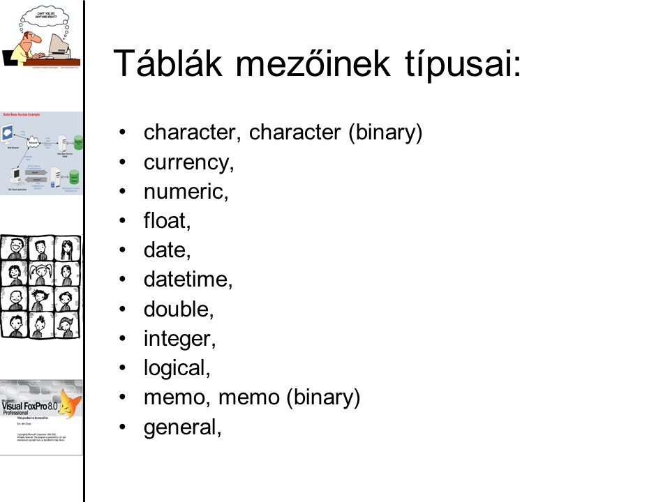 Táblák mezőinek típusai: character, character (binary) currency, numeric, float, date, datetime, double, integer, logical, memo, memo (binary) general