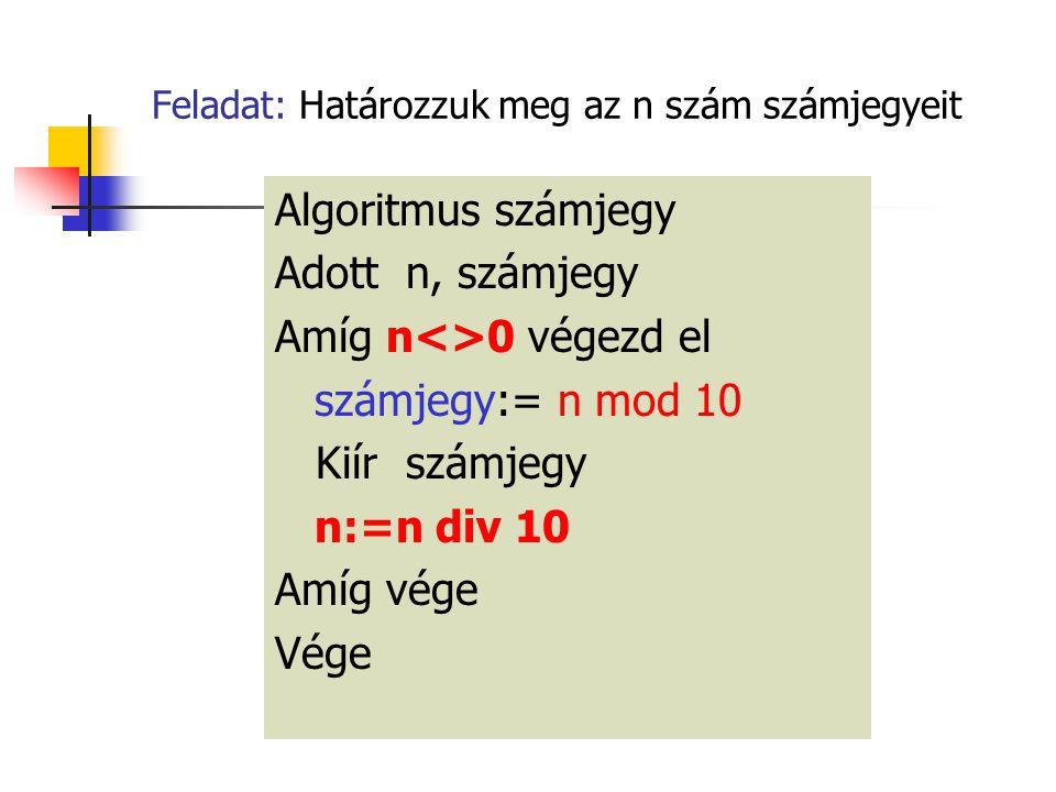 Feladat: Határozzuk meg az n szám számjegyeit Algoritmus számjegy Adott n, számjegy Amíg n<>0 végezd el számjegy:= n mod 10 Kiír számjegy n:=n div 10