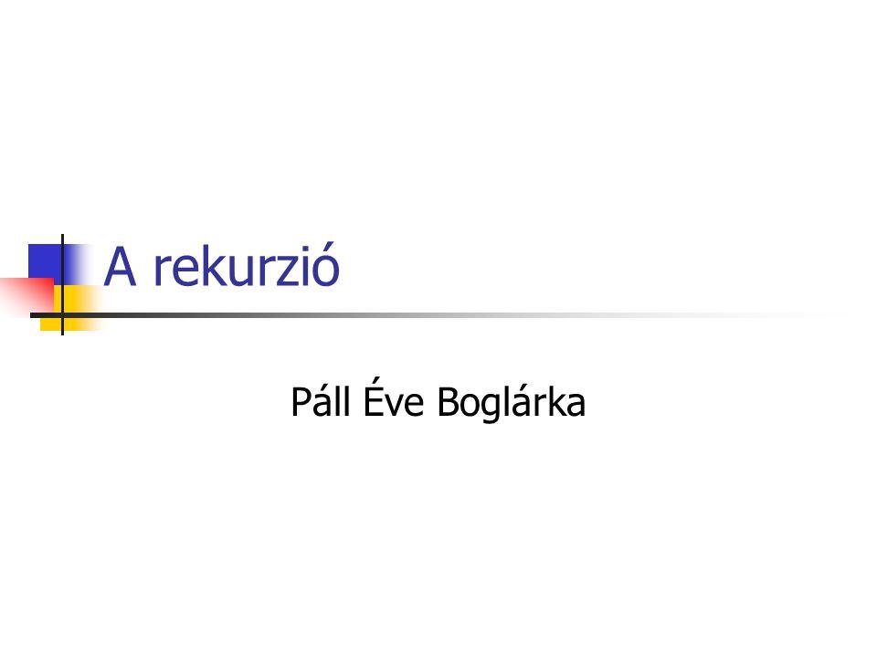 A rekurzió Páll Éve Boglárka