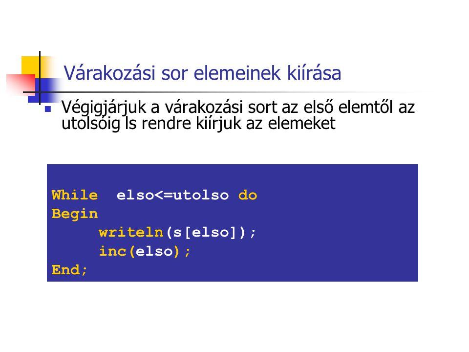 Egy új elem beszúrása a várakozási sorba Az új elemet a sor végére kell beszúrni Write('Uj elem erteke: '); Readln(ertek); inc(utolso) s[utolso]):=ertek;