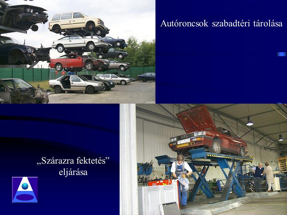 """Autóroncsok szabadtéri tárolása """"Szárazra fektetés eljárása"""