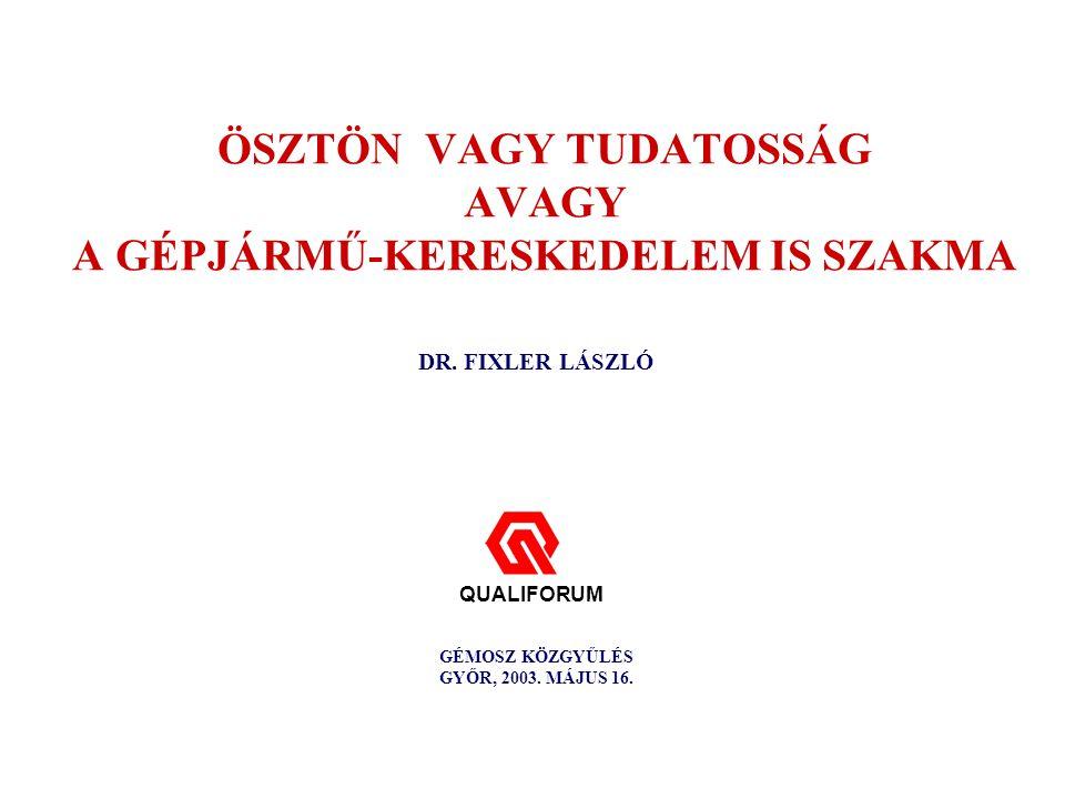 ÖSZTÖN VAGY TUDATOSSÁG AVAGY A GÉPJÁRMŰ-KERESKEDELEM IS SZAKMA DR.
