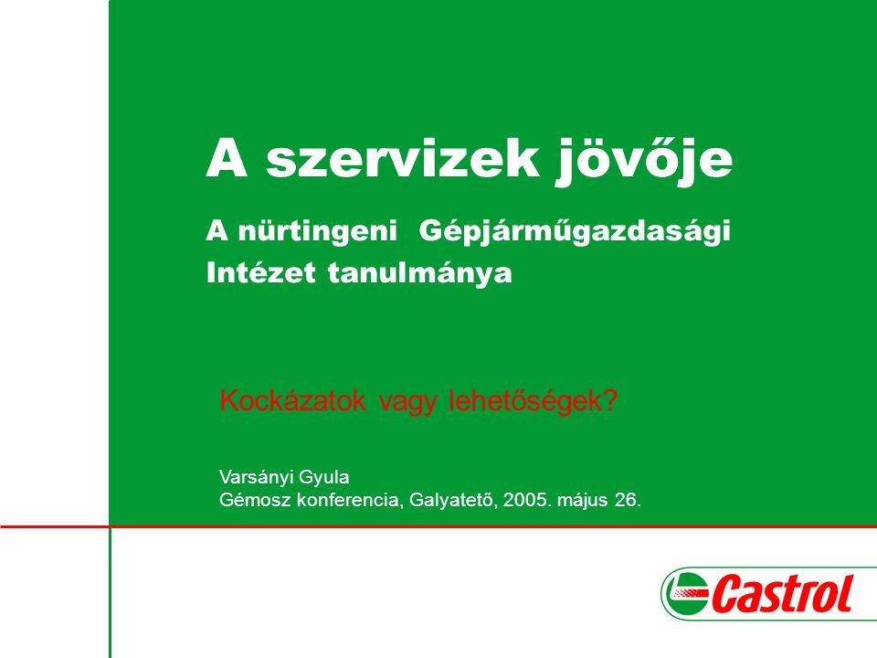 A szervizek jövője A nürtingeni Gépjárműgazdasági Intézet tanulmánya Kockázatok vagy lehetőségek? Varsányi Gyula Gémosz konferencia, Galyatető, 2005.