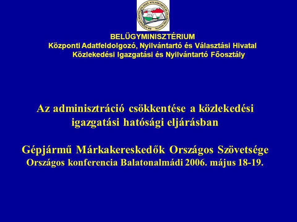 Az adminisztráció csökkentése a közlekedési igazgatási hatósági eljárásban Gépjármű Márkakereskedők Országos Szövetsége Országos konferencia Balatonalmádi 2006.
